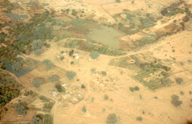 West African village from the air