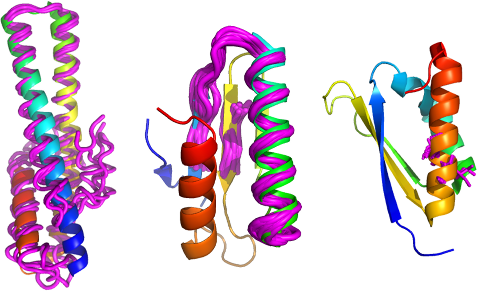 Ensembles search models of different sizes (magenta) solve protein crystal structures (cartoon)