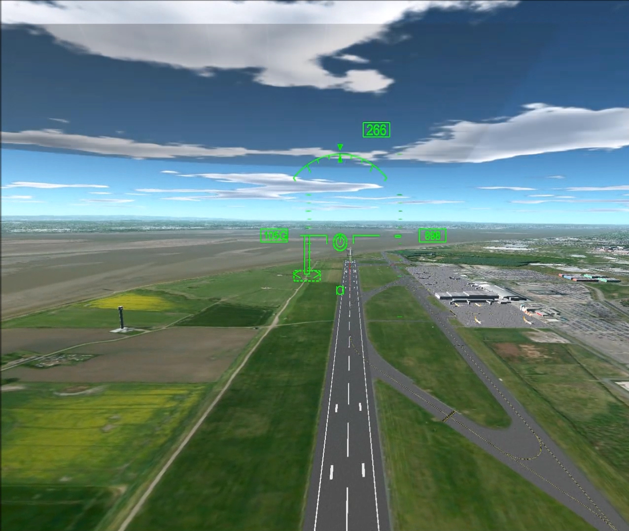 Coming down in a simulated autorotation into Liverpool John Lennon International Airport with guidance symbology on