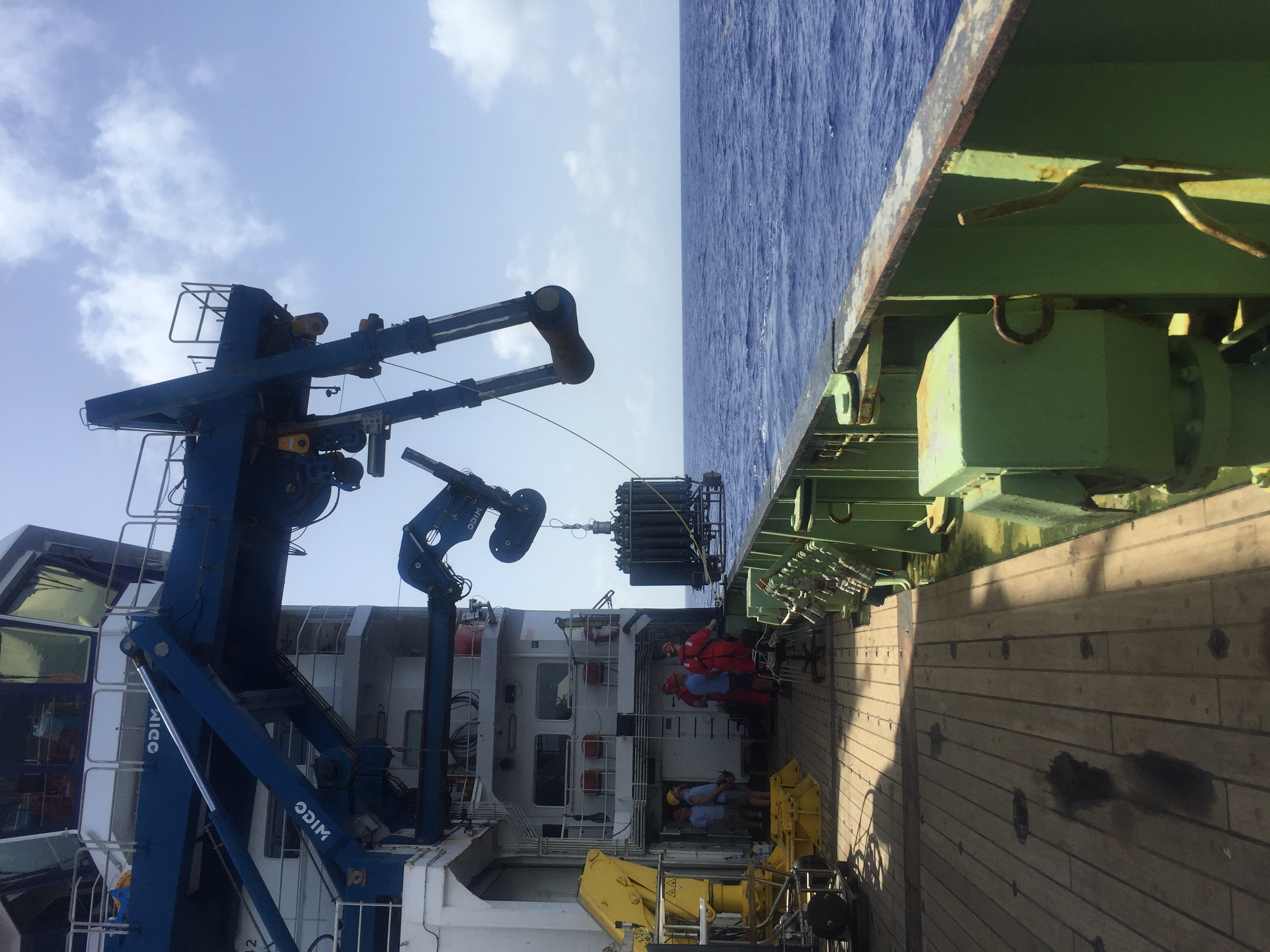 Deck of the RRS James Cook in the subtropical North Atlantic (July 2017) Credit: Claire Mahaffey